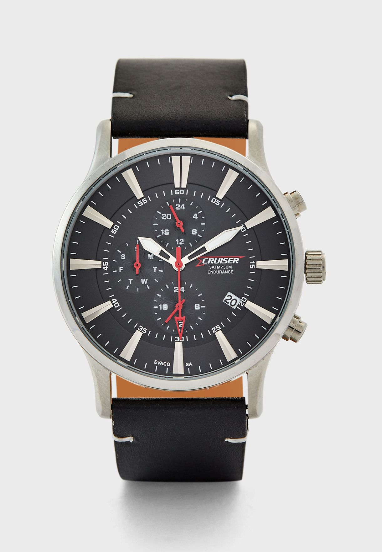 Leather Strap Chronograph Watch