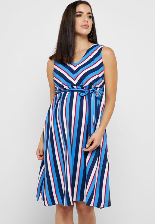 Striped V-Neck Belted Dress