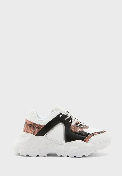 Snake Mix Chunky Sneakers