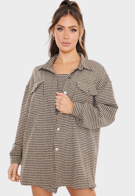 Tweed Houndstooth Shacket