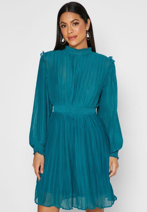 Shirred Ruffle Trim Midi Dress