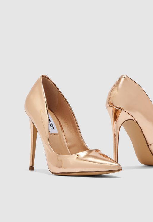 حذاء ميتاليك بكعب عالي