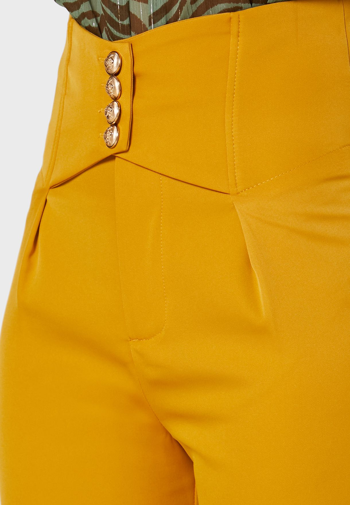 High Waisted Button Front Pants