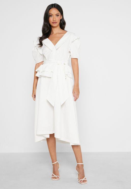 V-Front and Back Detail Midi Dress