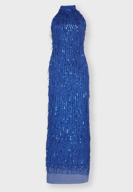 Drop Sequin Halterneck Maxi Dress