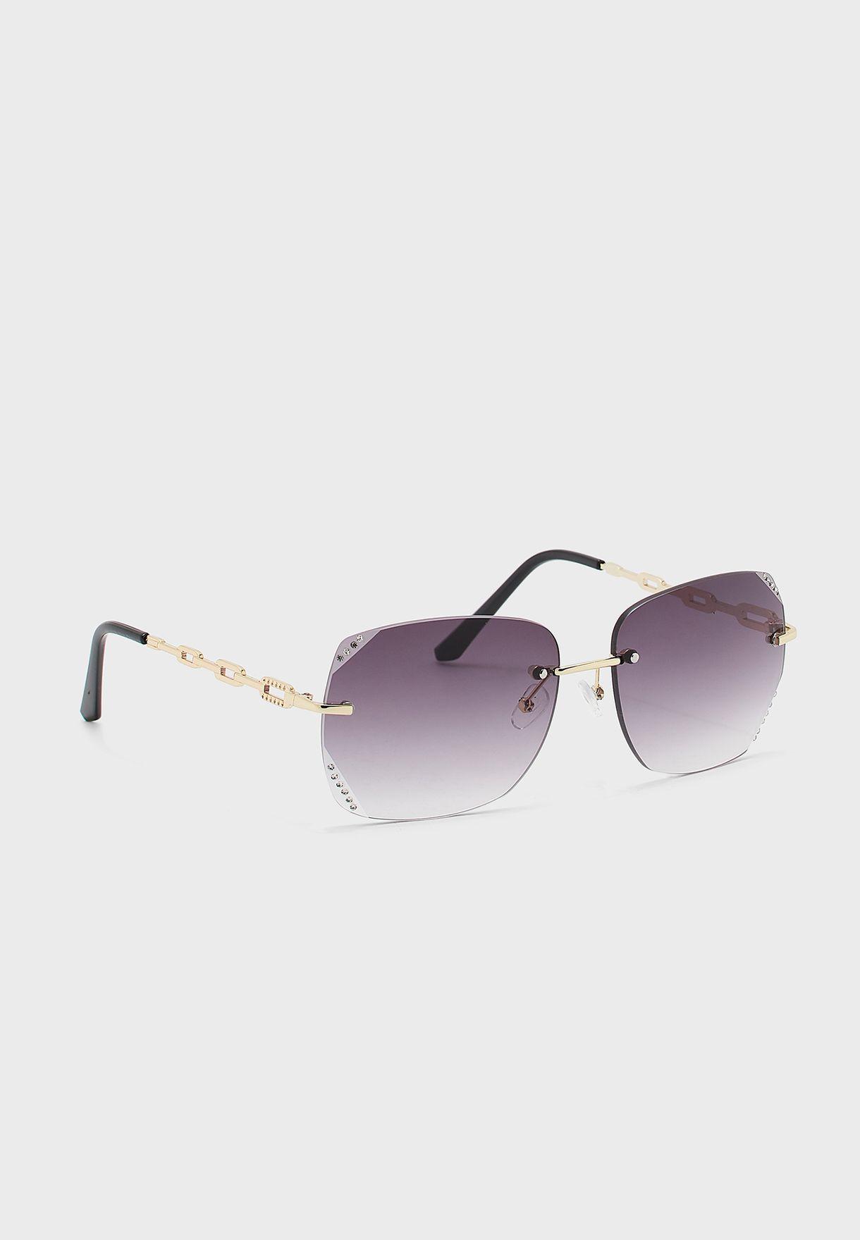 نظارة شمسية كبيرة باحجار الراين