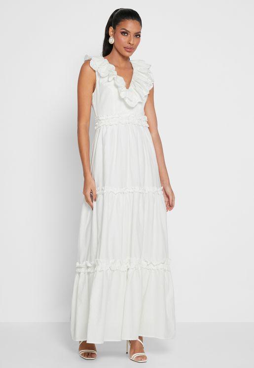 Ruffle Detail Tiered Dress