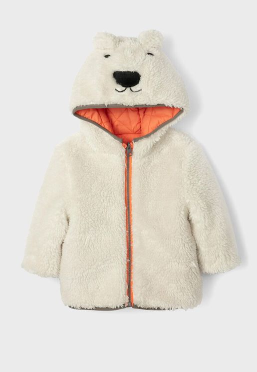 Infant Zip Thru Bear Hoodie