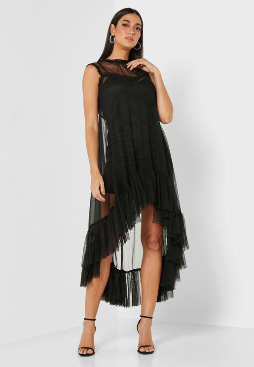 فستان ميدي بأطراف غير متماثلة الطول