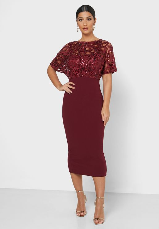Sequin Top Midi Dress