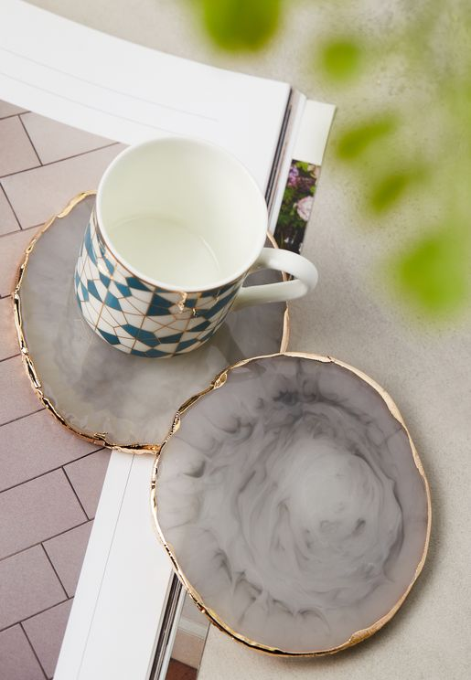 Set Of 2 Gilded Quartz Coasters