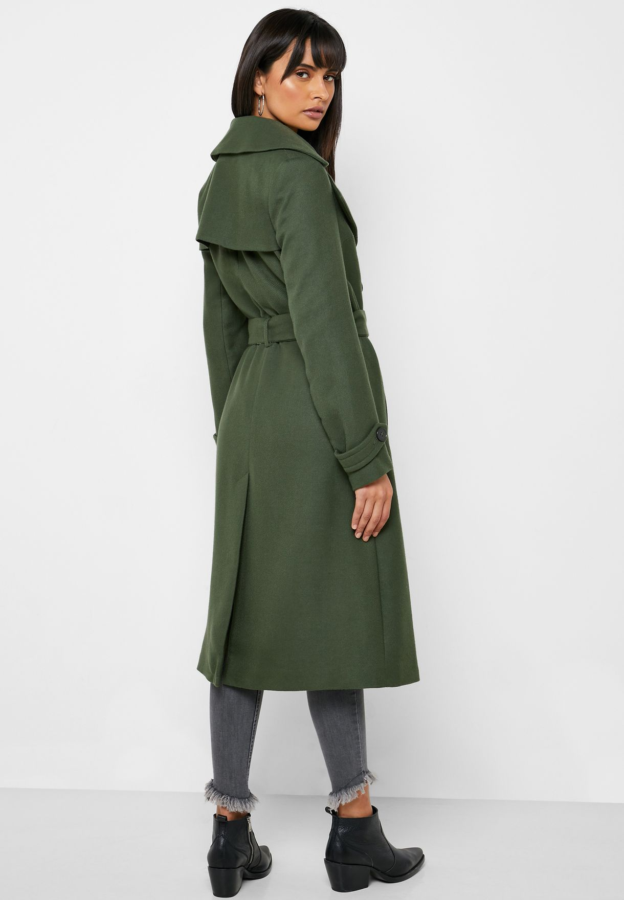 Buy Miss Selfridge Green Longline Belted Coat For Women, Uae 18832at54wgp