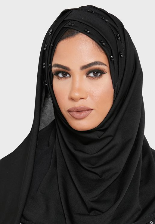 Pearl Beaded Crossover Front Hijab Headscarf