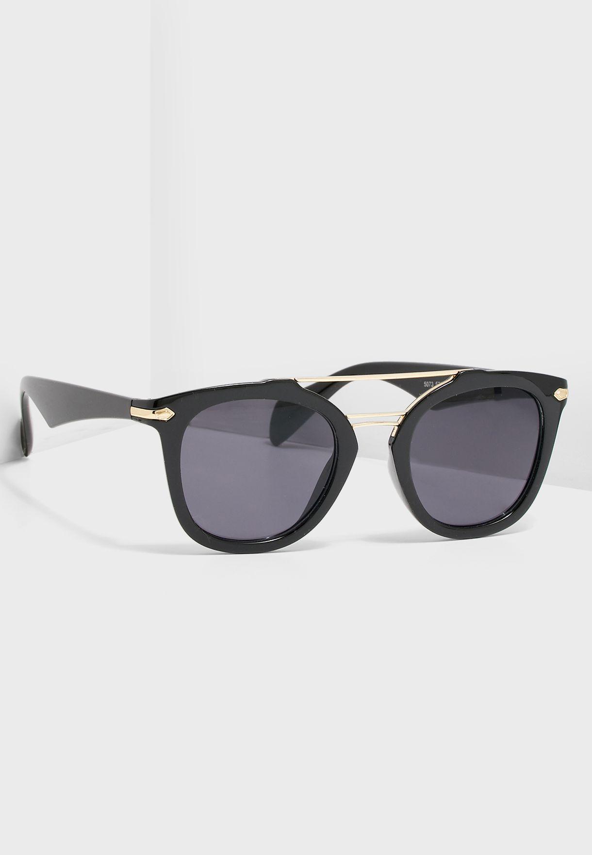 Brow Detail Round Sunglasses