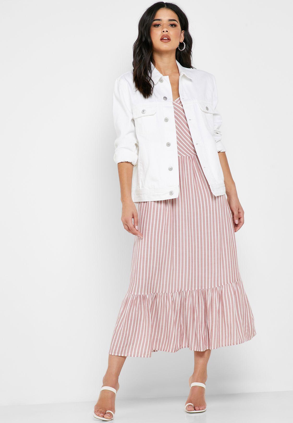Ruffle Hem Striped Dress