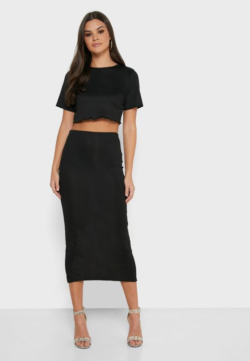 Ribbed Crop Top & Skirt Set