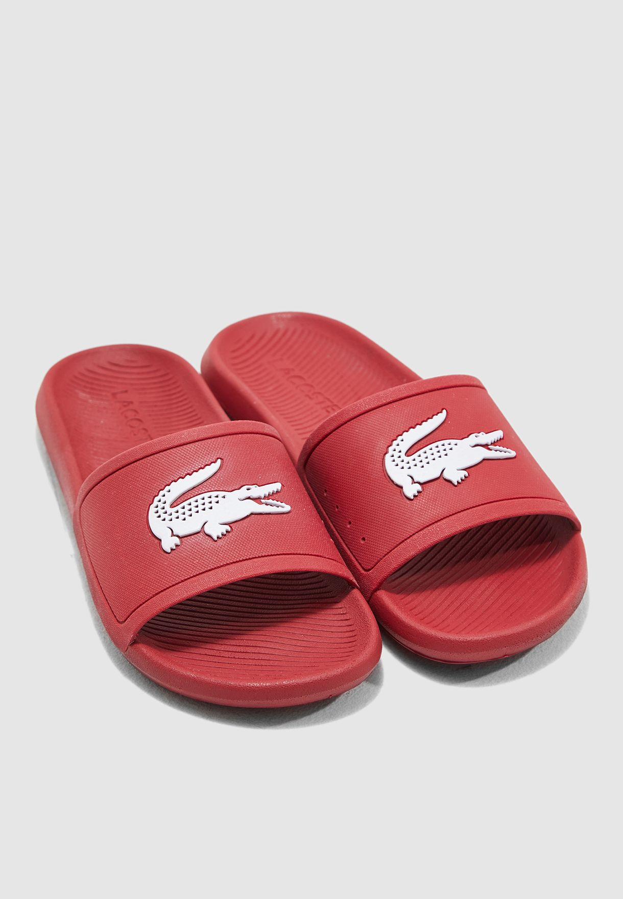 e57264d2cf21 Shop Lacoste red Croco 119 Logo Slides 37CMA0018-17K for Men in ...