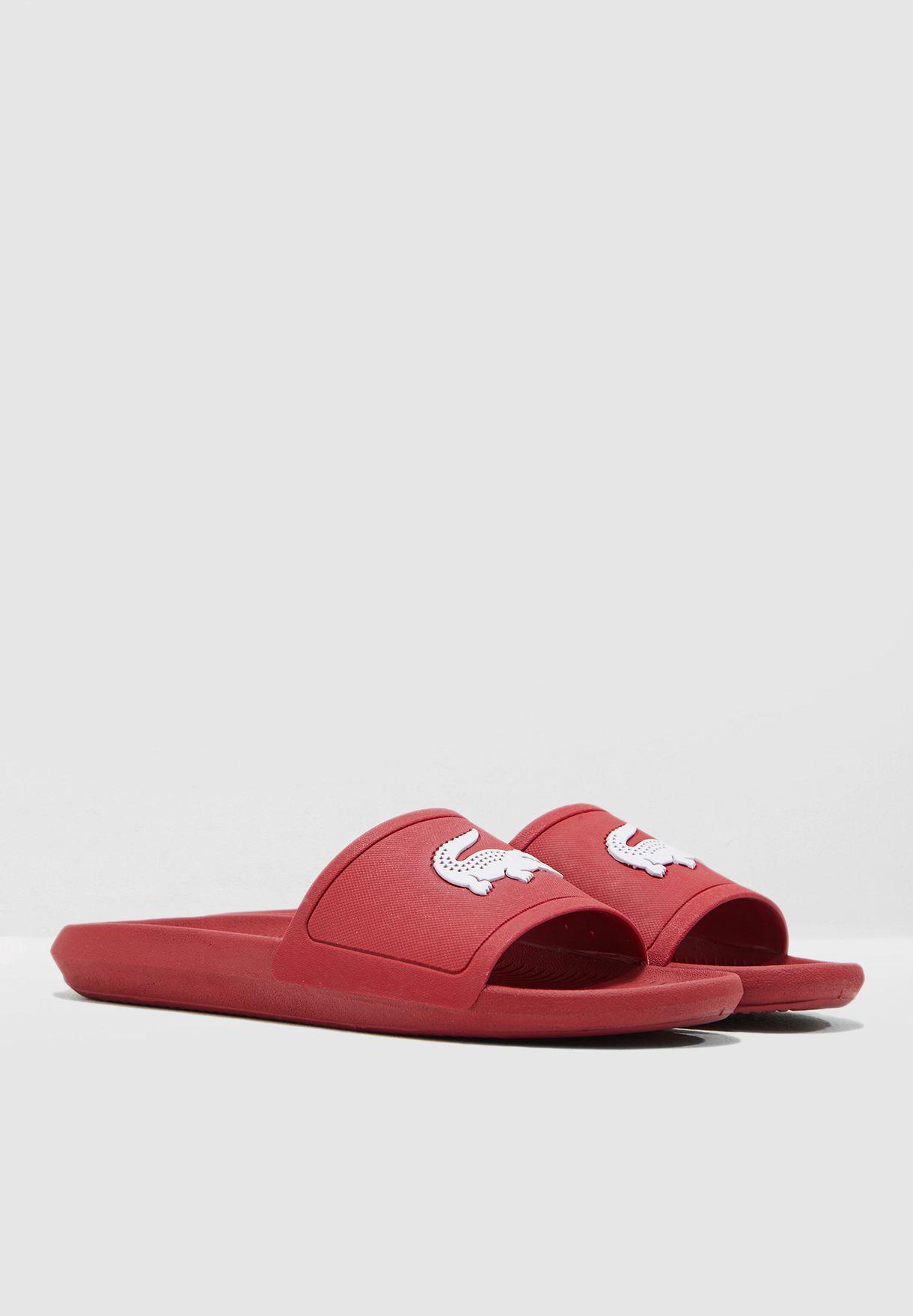 8875ca9d852f Shop Lacoste red Croco 119 Logo Slides 37CMA0018-17K for Men in UAE ...