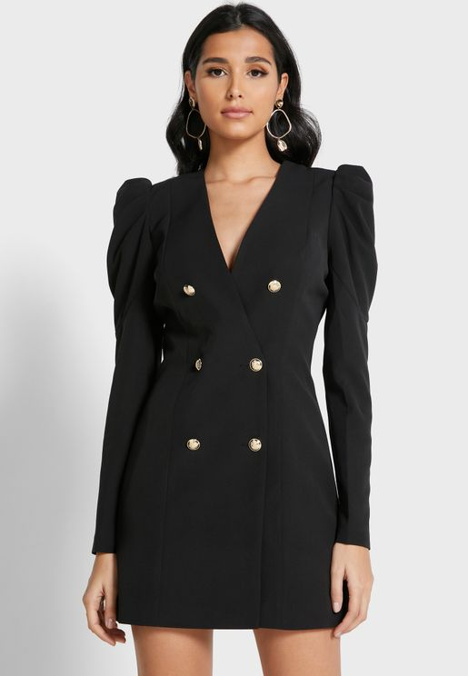 Double Breasted Plunge Blazer Dress