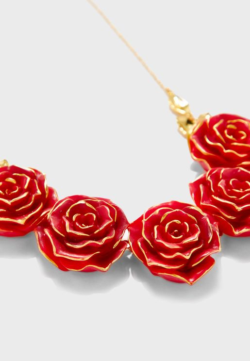 Array Of Red Roses Collar Necklace