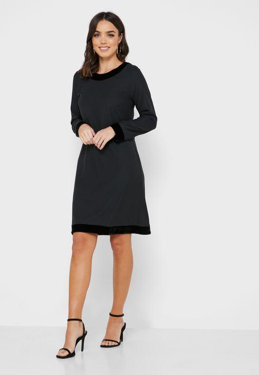 Velvet Detail Shift Dress