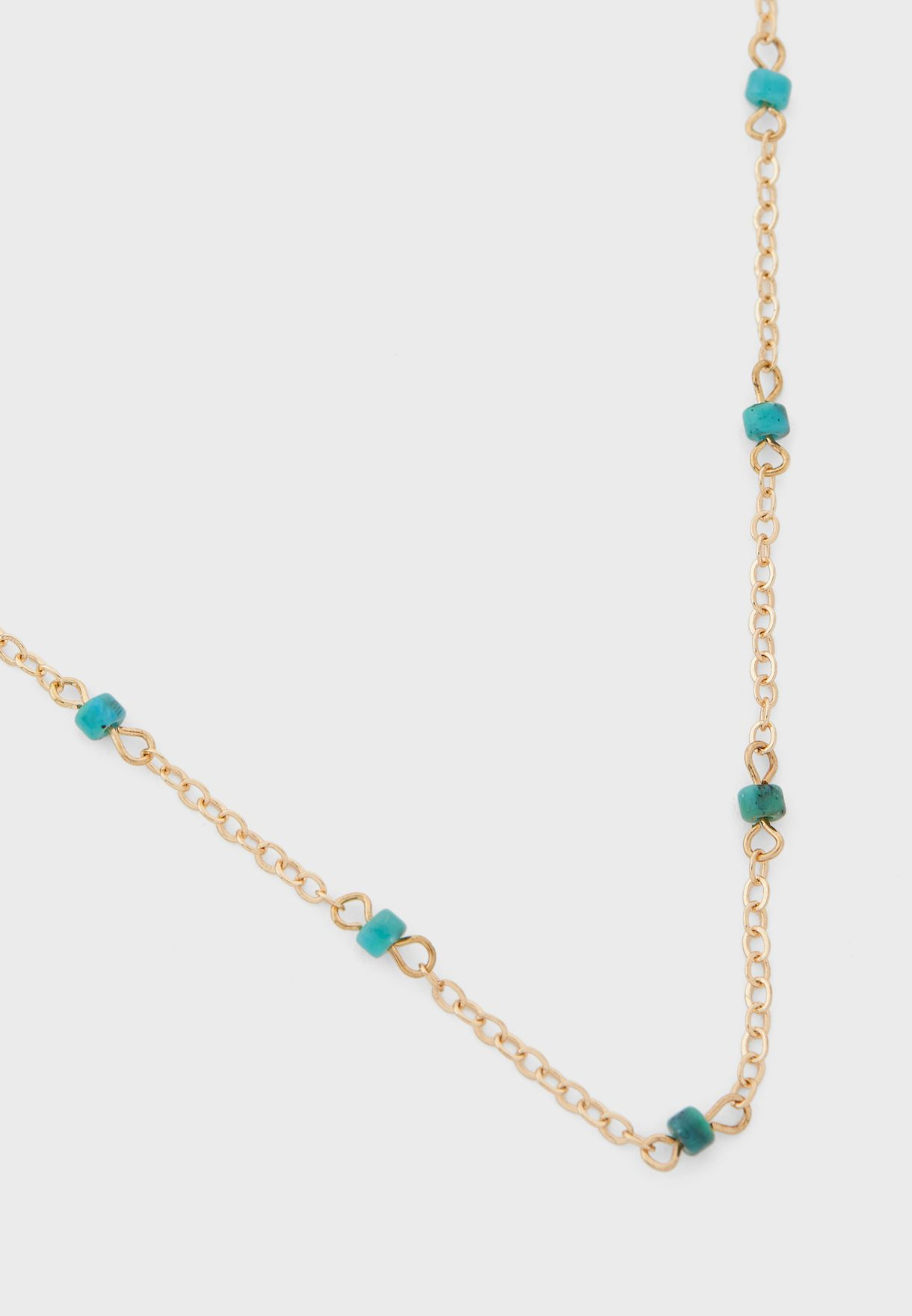 3 Layer Chain And Diamante Circle Pendent Necklace