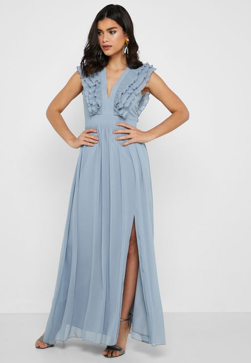 Plunge Ruffle Maxi Dress
