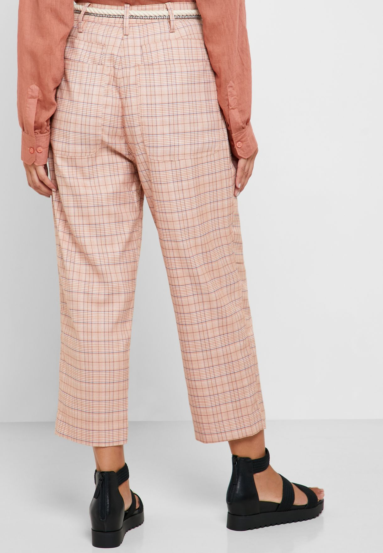 Ankle Grazer Checked Cargo pants