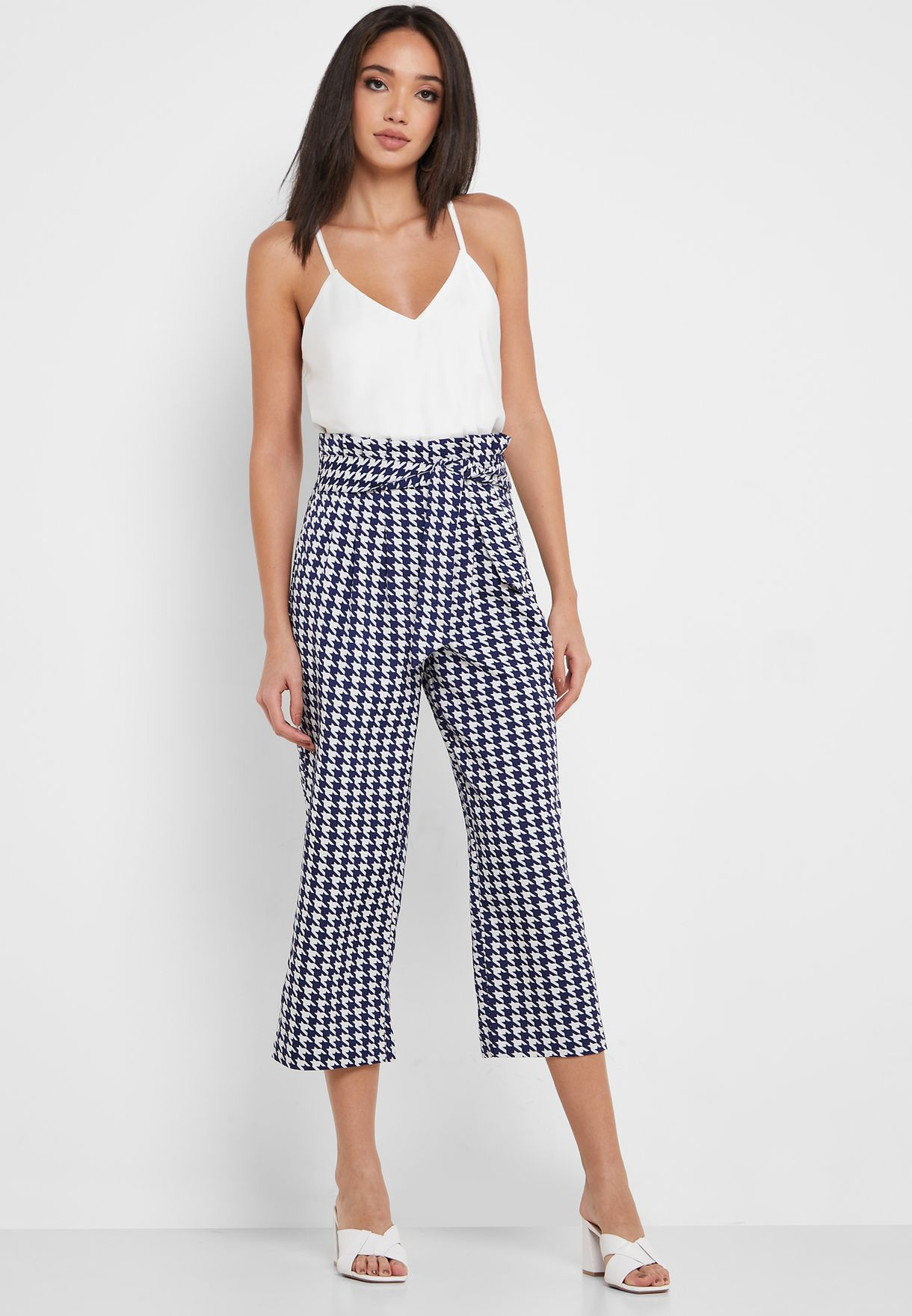 Houndstooth Belted Pants
