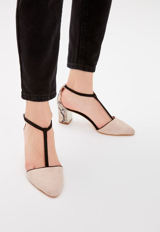 Suede Block Heel Pump
