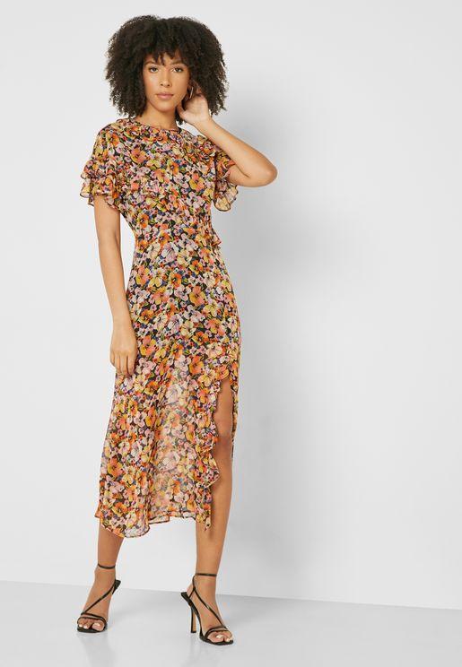 فستان مطبع مزين بكشكش