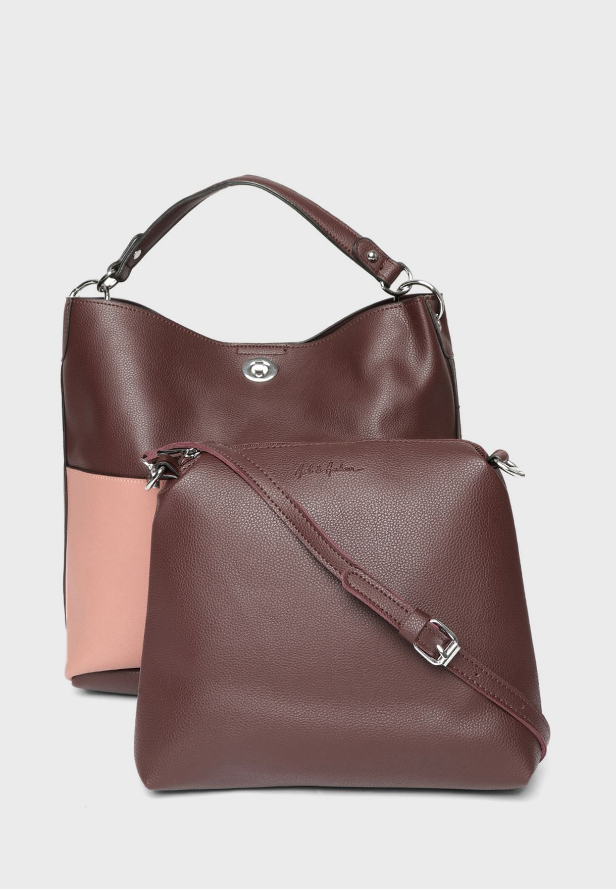 Zip Closure Hobo With Pouch