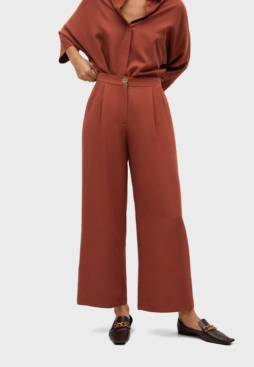 Pleat Detail Wide Leg Pants