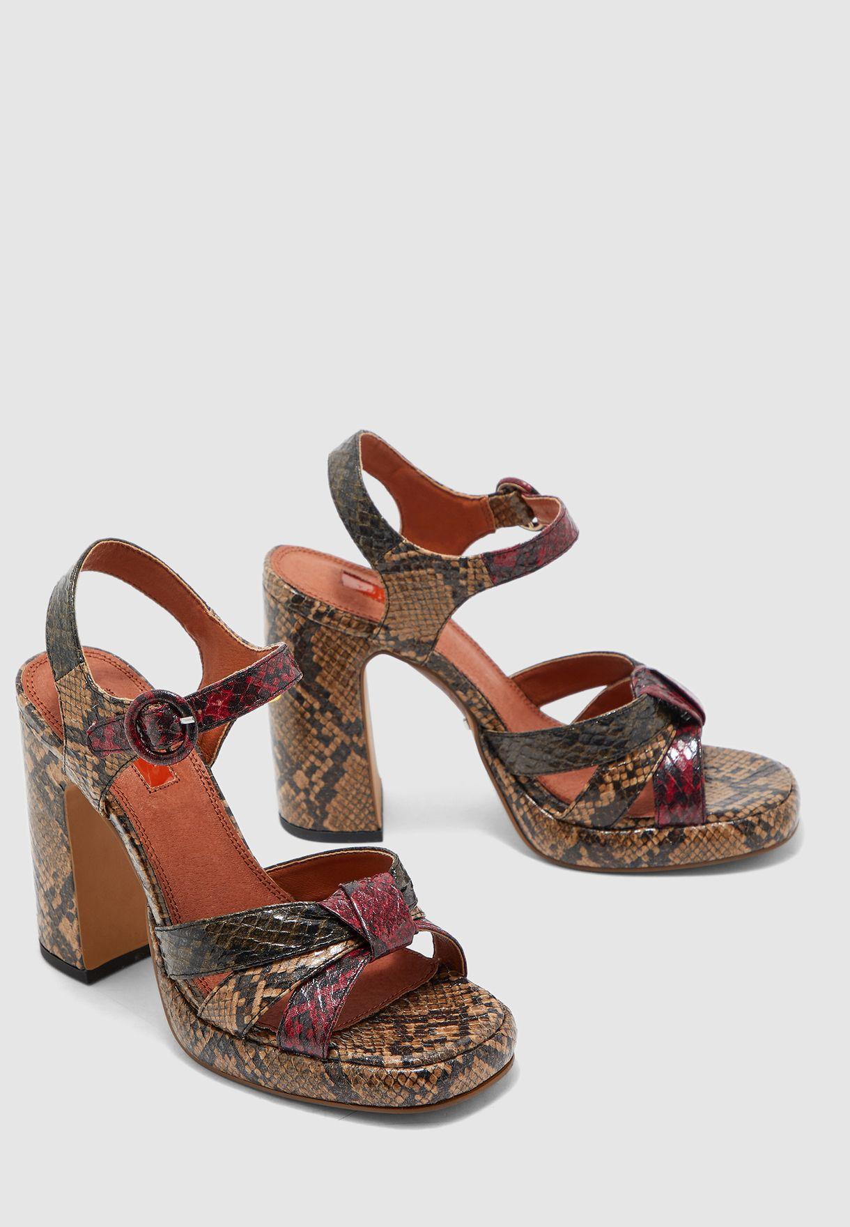Ripple Snake Print Platform Sandal