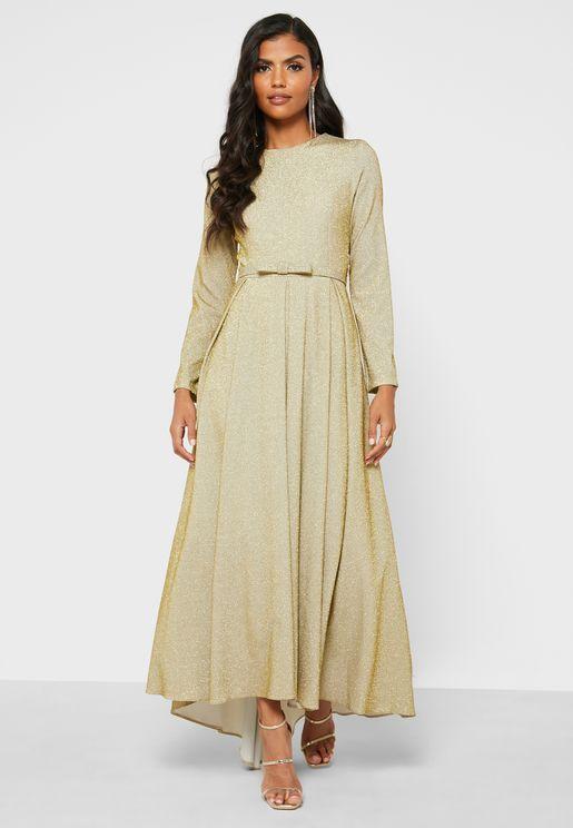 Shimmer Belted Dress