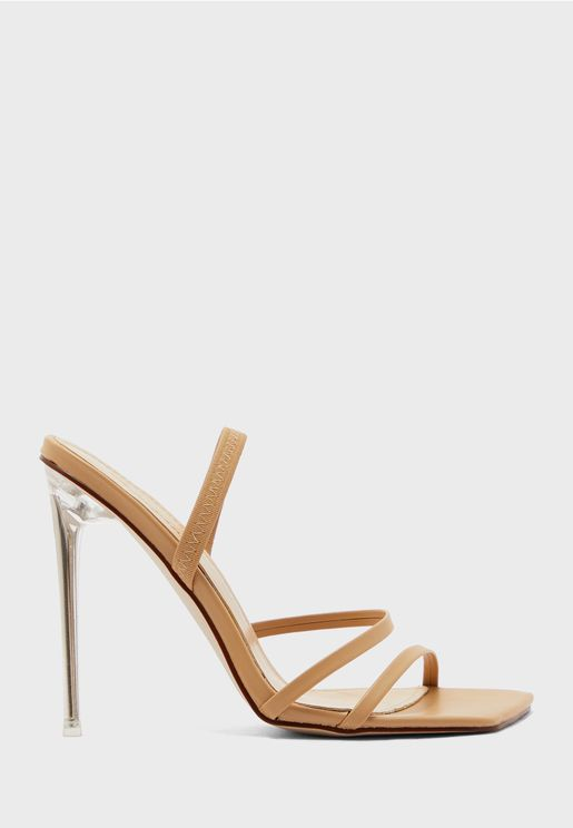 Square Toe Multi-Strap Feature Heel Mule