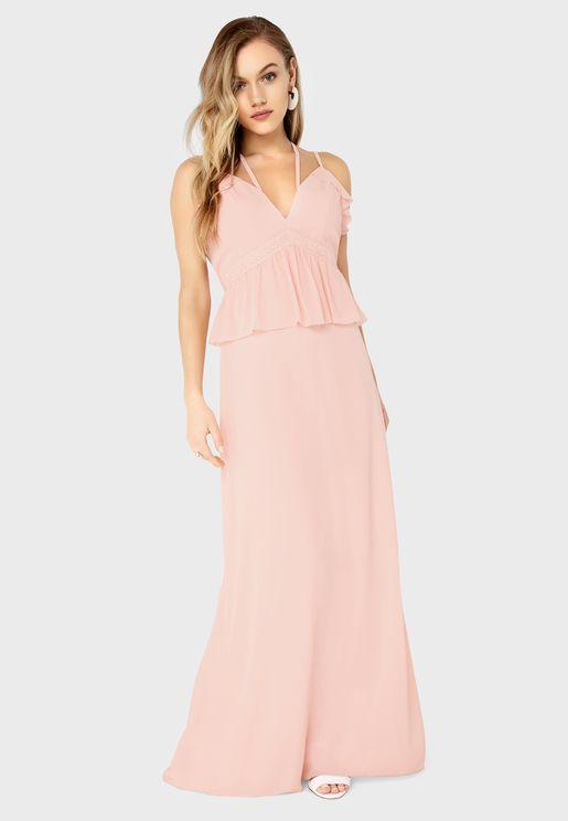 Velvet Ruffle Detail Dress