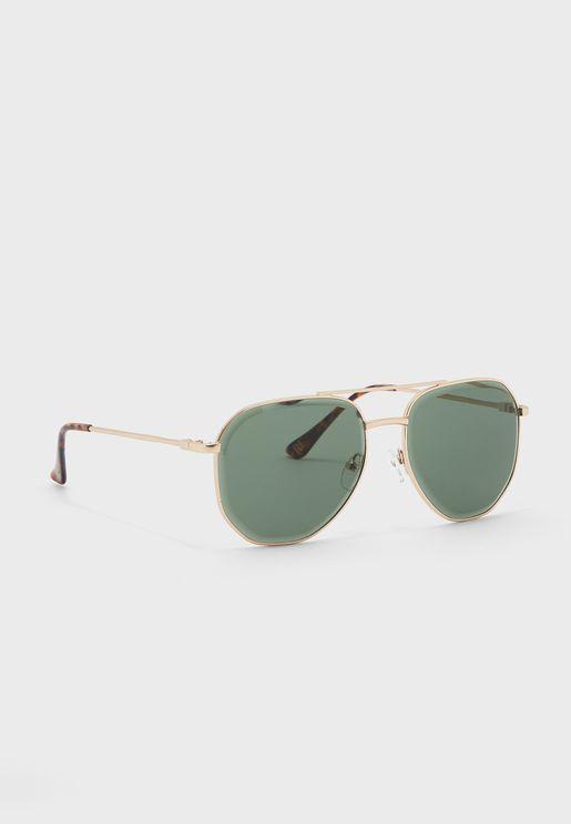Beveled Lens Aviator Sunglasses