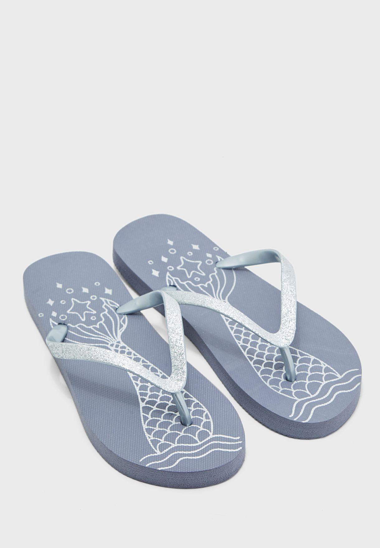 Ginger silver Glitter Strap Flip Flops