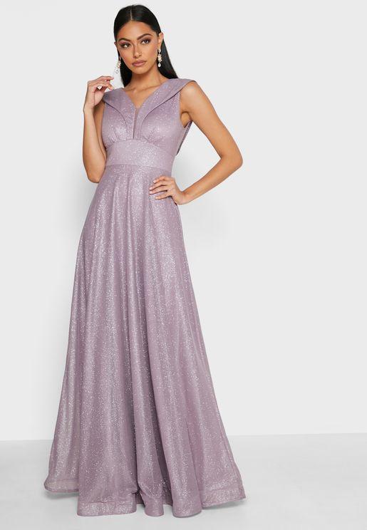 Sleeve Detail Shimmer Dress