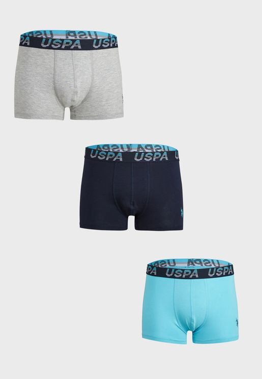3 Pack Assorted Logo Band Trunks