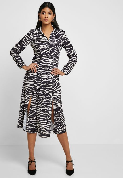 Zebra Print Front Split Dress