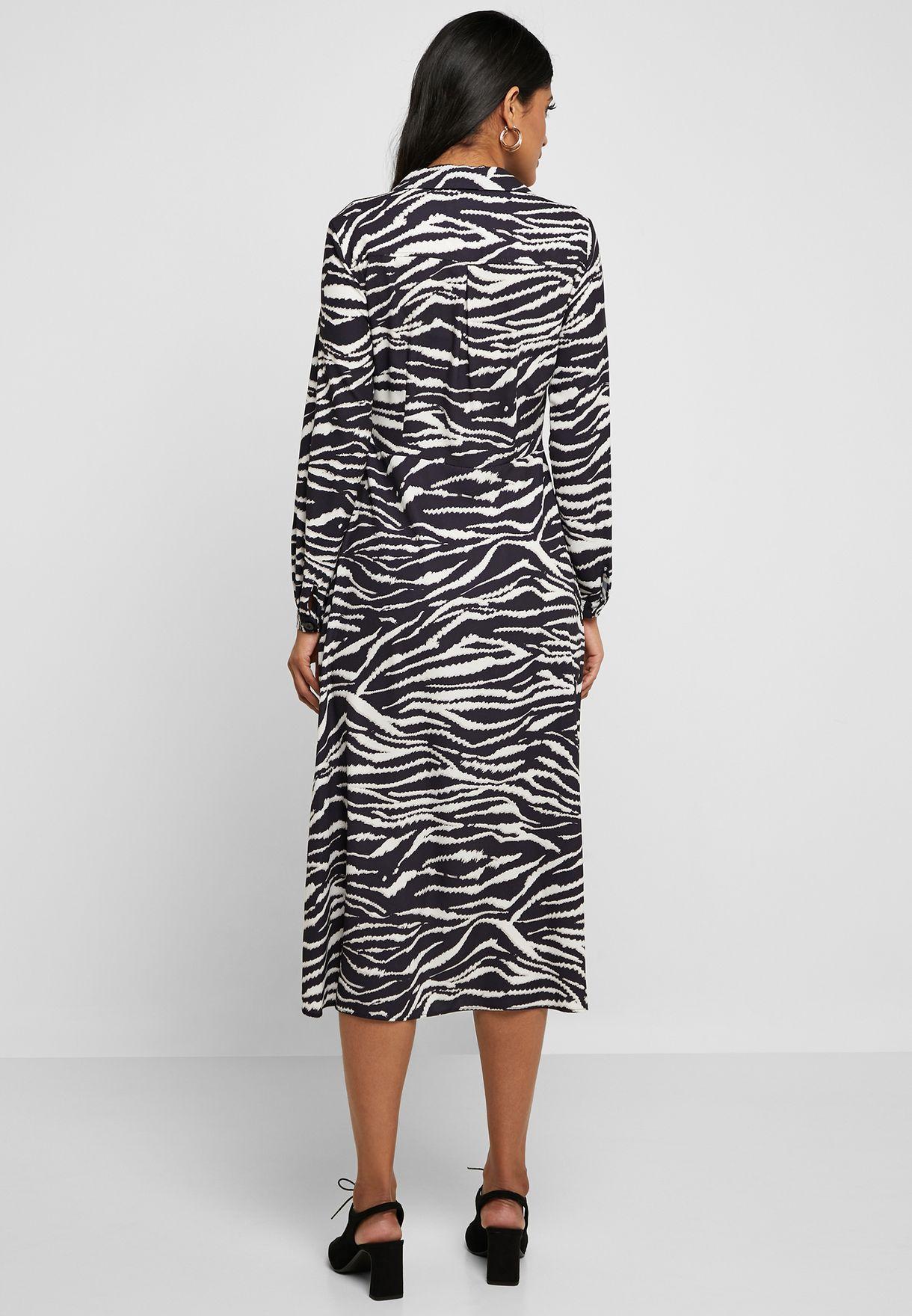 Zebra Print Front Split Dress
