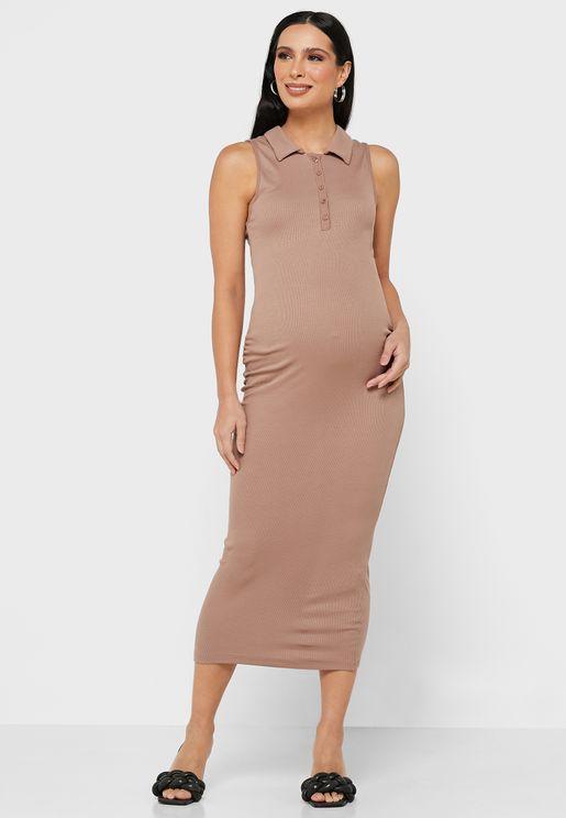 Button Front Sleeveless Rib Dress