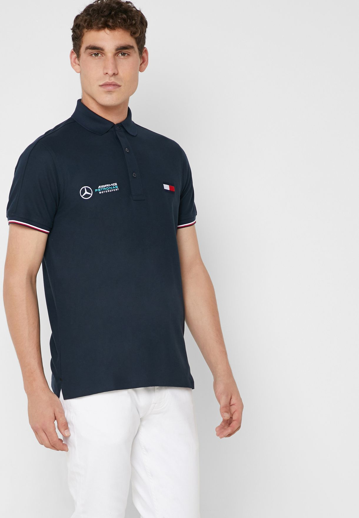 cda2e3fd Shop Tommy Hilfiger navy Mercedes Benz Essential Logo print Polo ...