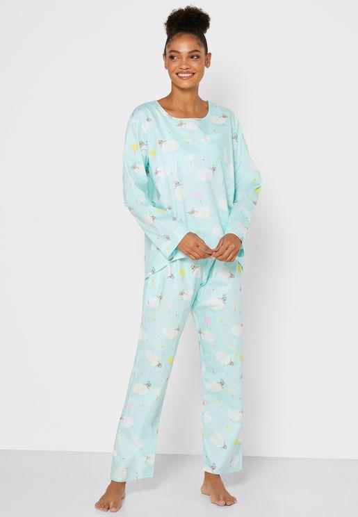 Printed Chest Pocket Pyjama Set