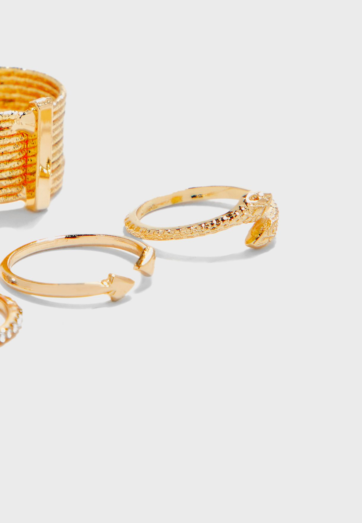5 Pack Diamante and Snake Rings