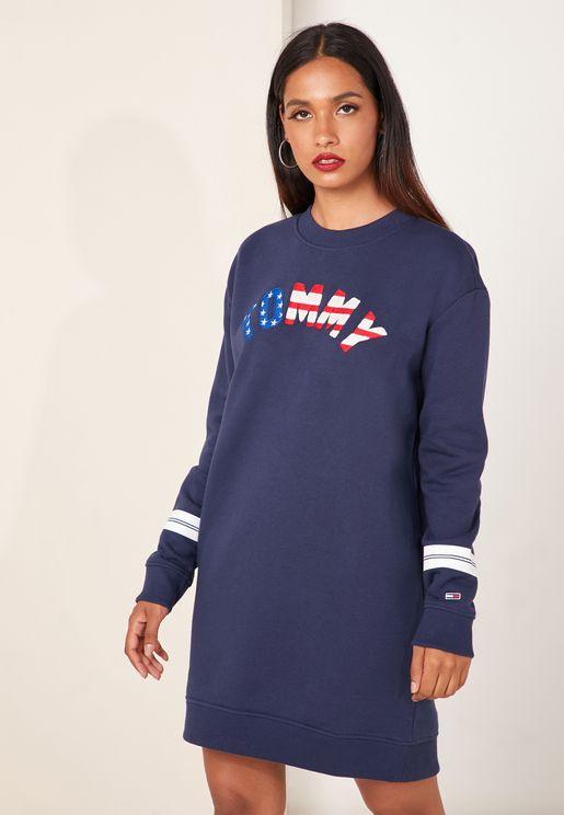 Striped Detail Logo Sweatshirt Dress