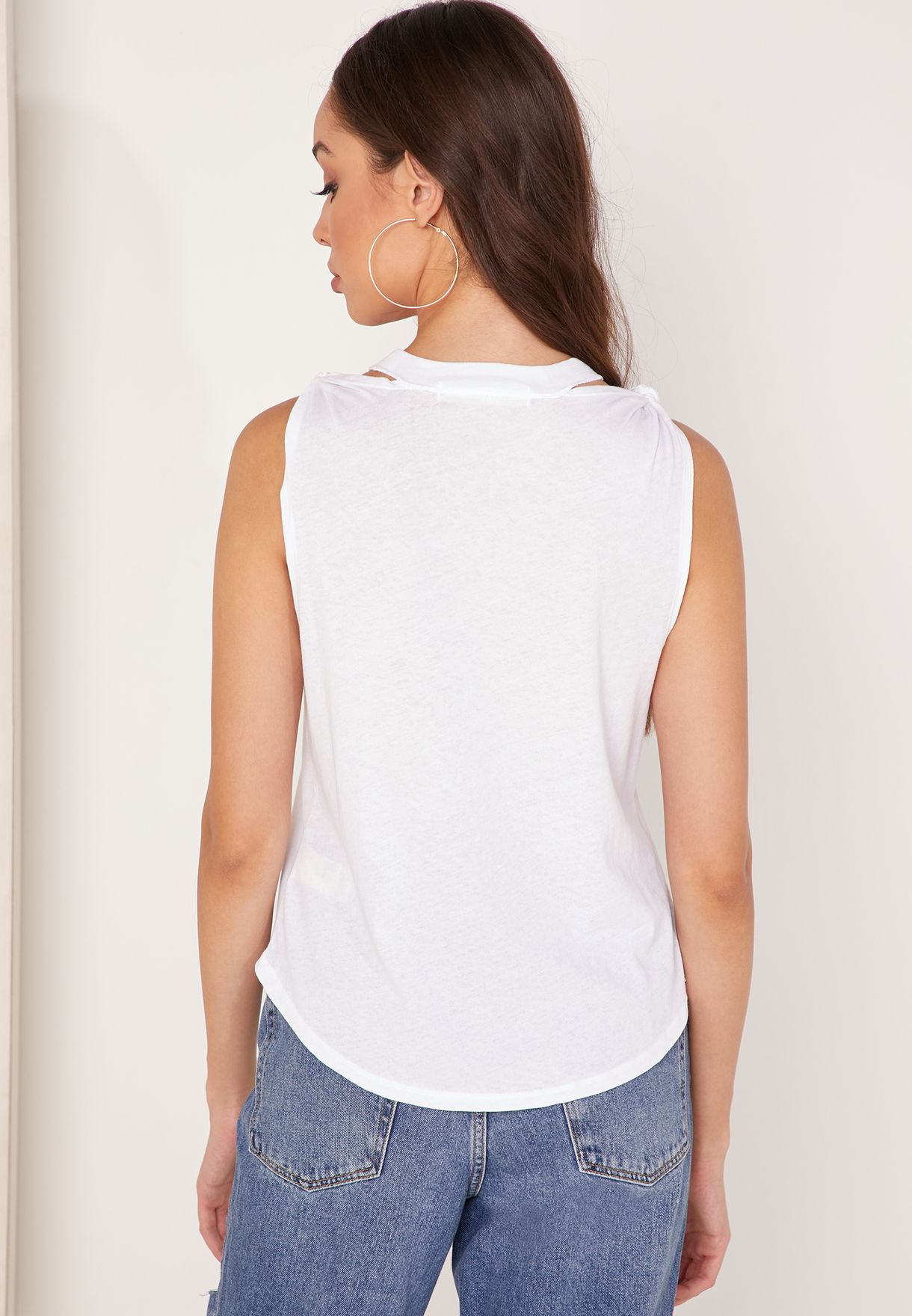 The Twist Cut Out Neck Tank Top