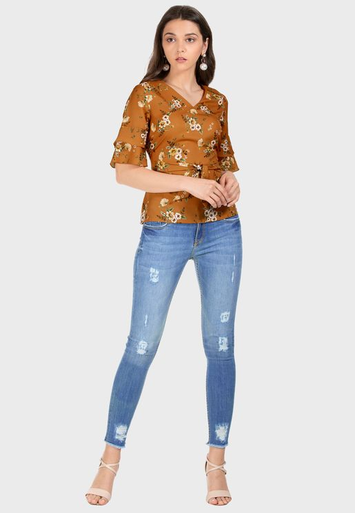 Mustard Floral Belted Bell Sleeve Top